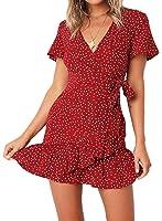 Relipop Summer Women Short Sleeve Print Dress V Neck Casual Short Dresses