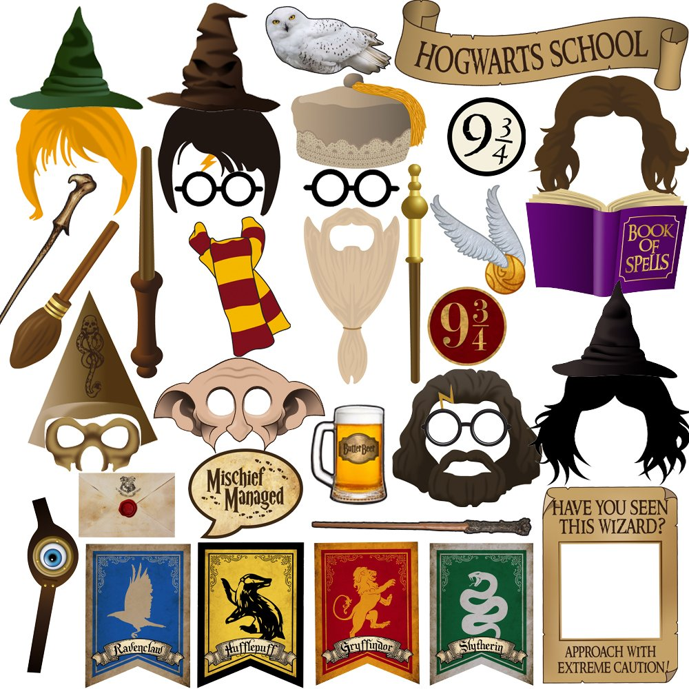BizoeRade Harry Potter Party Photo Booth Props, 37pcs Magic Wizard Party Photo Booth Props, Harry Potter Party Favors Decorations for Kids Children Wizard Castle Birthday Party
