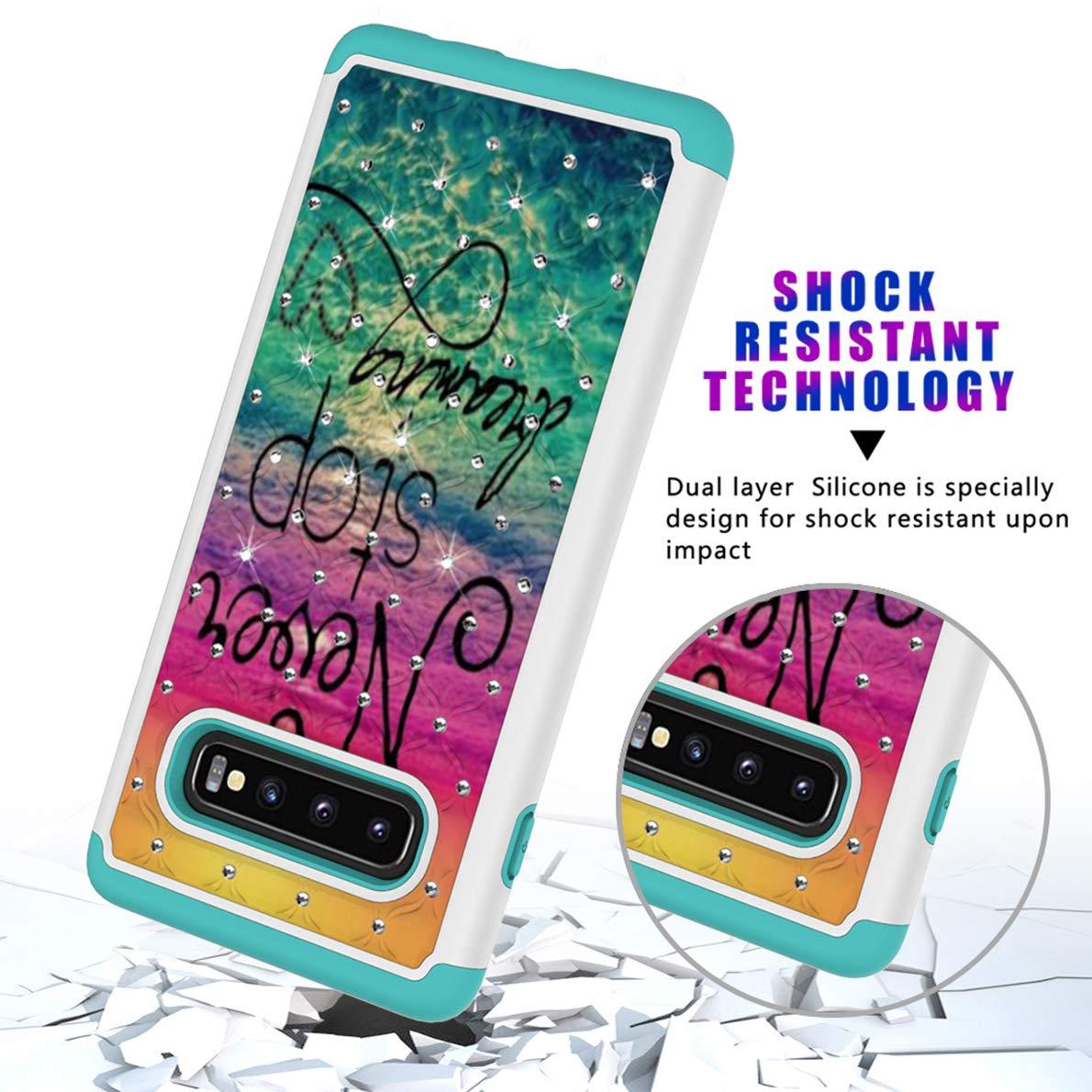Plus Funda SHUYIT Samsung Galaxy S10 TPU cubierta protectora del Caso para Samsung Galaxy S10 Patr/ón de color C/áscara Case Cover Brillante Purpurina Slim Fit doble capa h/íbrido duro PC Plus
