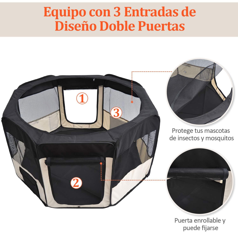 Pawhut Parque Mascotas Plegable 2 Puertas Juego Entrenamiento ...