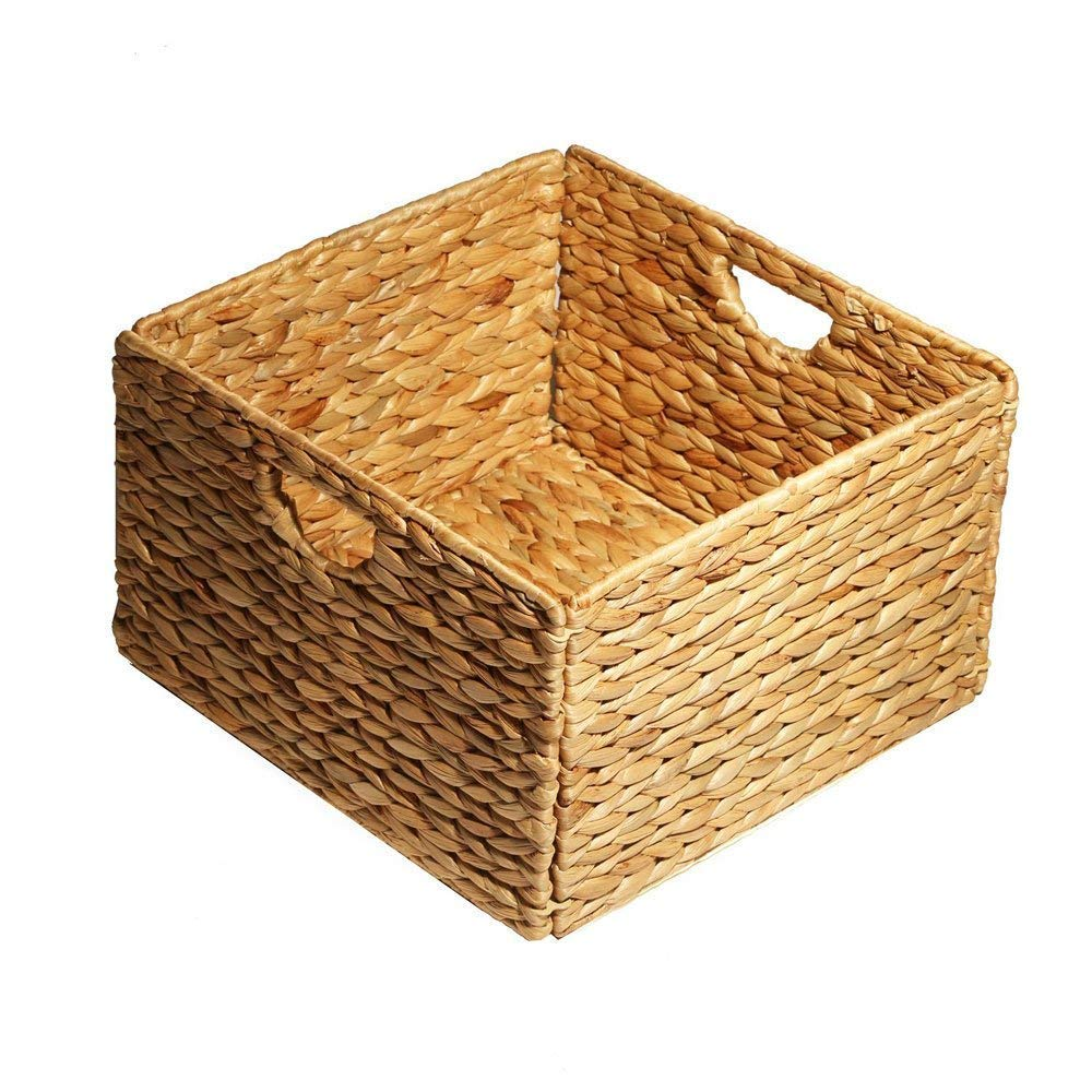 Space Paths Natural Water Hyacinth Storage Baskets,Hand-Woven Nursery Basket,Wicker Open Storage Bin for Shelves,Foldable Storage Baskets with Iron Wire Frame