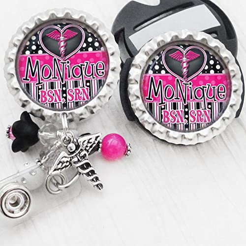 ID Badge Reel Holder Personalized Retractable Badge Reel Nurse-RN ID Holder