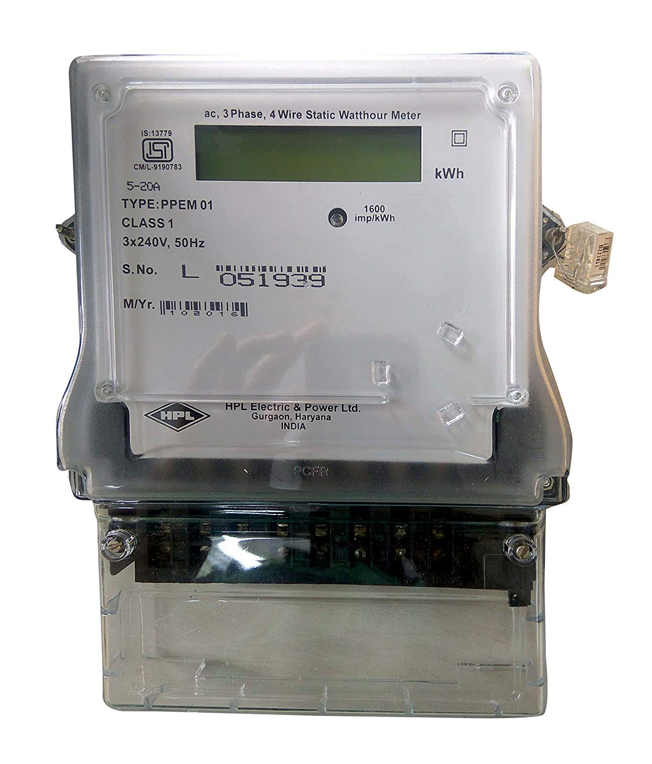 HPL Plastic 3 Phase 4 Wire Electrical Energy KWH Meter ... on