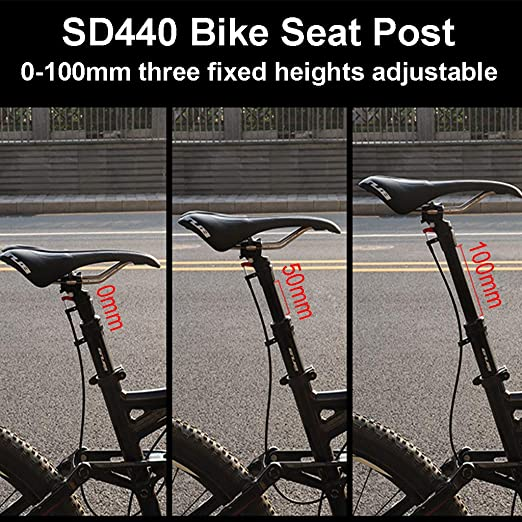 Dropper Bike Seat Post with Universal Mounting System menolana 0-100mm Remote Control Adjustable Aluminum Alloy Mountain Bike Seatpost