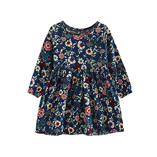Kids Toddler Baby Girls Long Sleeve Floral Dress Party Princess Dresses Clothes