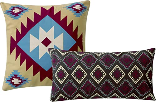 Greenland Home Southwest Pillow Set, 2 Piece, 18×18 inches Plus 12×24 inches, Earth Tones