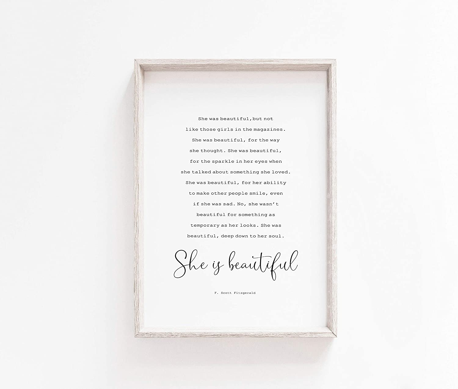Amazon Com Malertaart She Was Beautiful Printable Wall Art F Scott Fitzgerald Quote Literary Typography Quote Framed Wall Art Posters Prints
