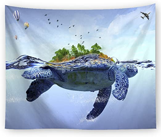 Cartoon Turtle Tapestry The Underwater World Trippy Colorful