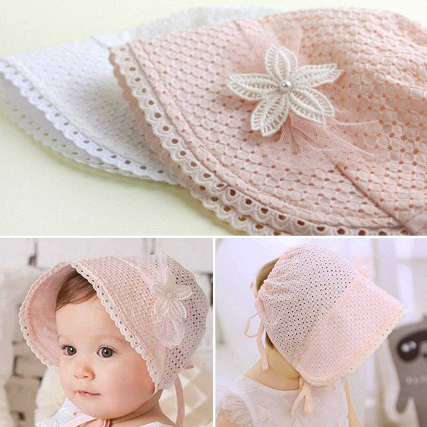 Baby Girls Summer Lace Eyelet Cotton Hat Classic Adjustable Sun Protection Cap