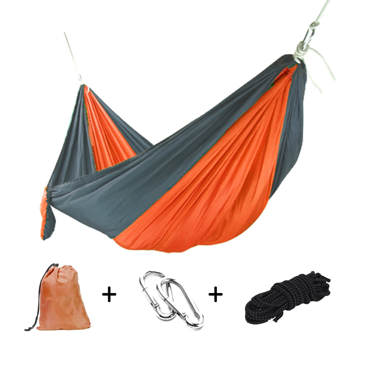 Goodlee Single Double Portable Camping Hammock,Lightweight Nylon Parachute Hammock with Tree Straps for Travel,Camping,Backpacking and more.