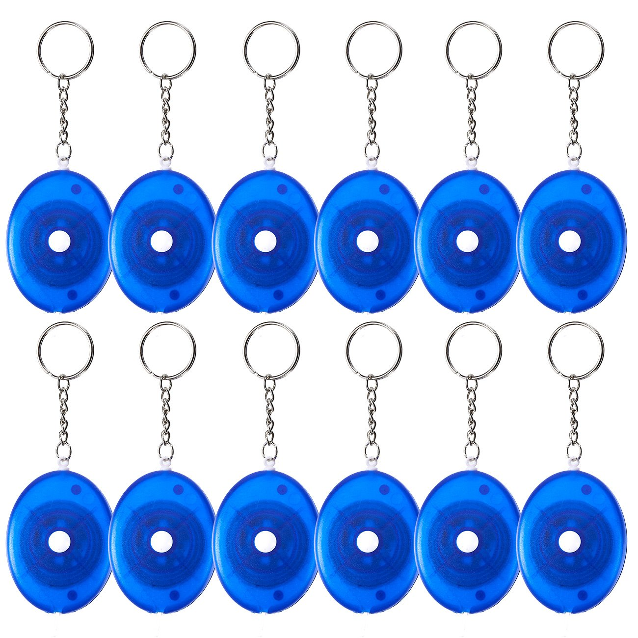 Retractable Tape Measure Keychain - 12-Pack Soft Tailor Tape Measure with Push-Button, Double-Sided Sewing Tape, Blue, 60 Inches Juvale