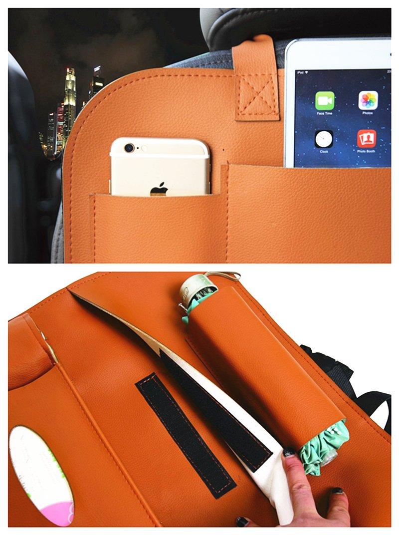 HCMAX 1 Pack Seggiolino per auto Organizzatore Tasca Backseat Custodia Protettiva Kick Mat Mini Supporto per iPad Ottimo Accessorio da viaggio