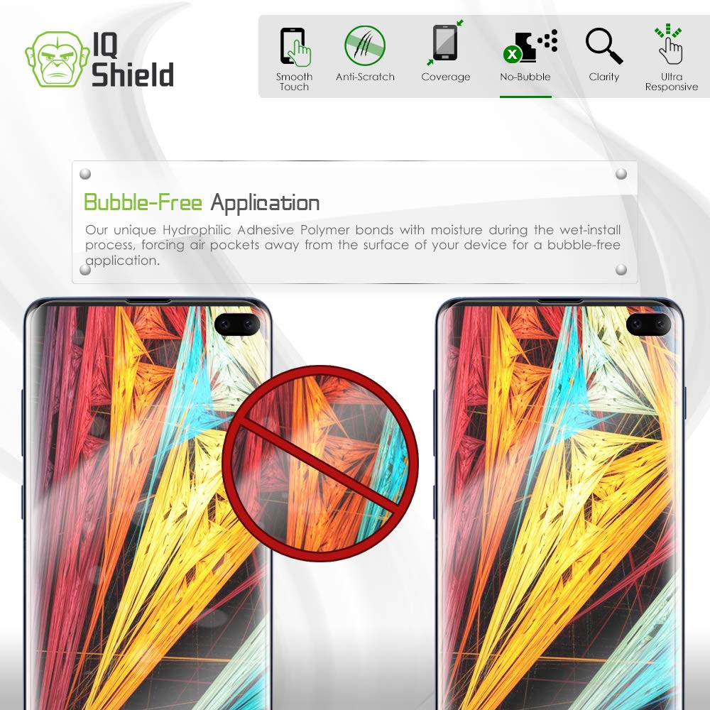 Samsung Galaxy S10 Plus Screen Protector (S10+ 6.4'')[Case Friendly](2-Packs)(Compatible w/Fingerprint ID), IQ Shield LiQuidSkin Full Coverage Screen Protector for Samsung Galaxy S10 Plus HD Clear Film by IQShield (Image #6)