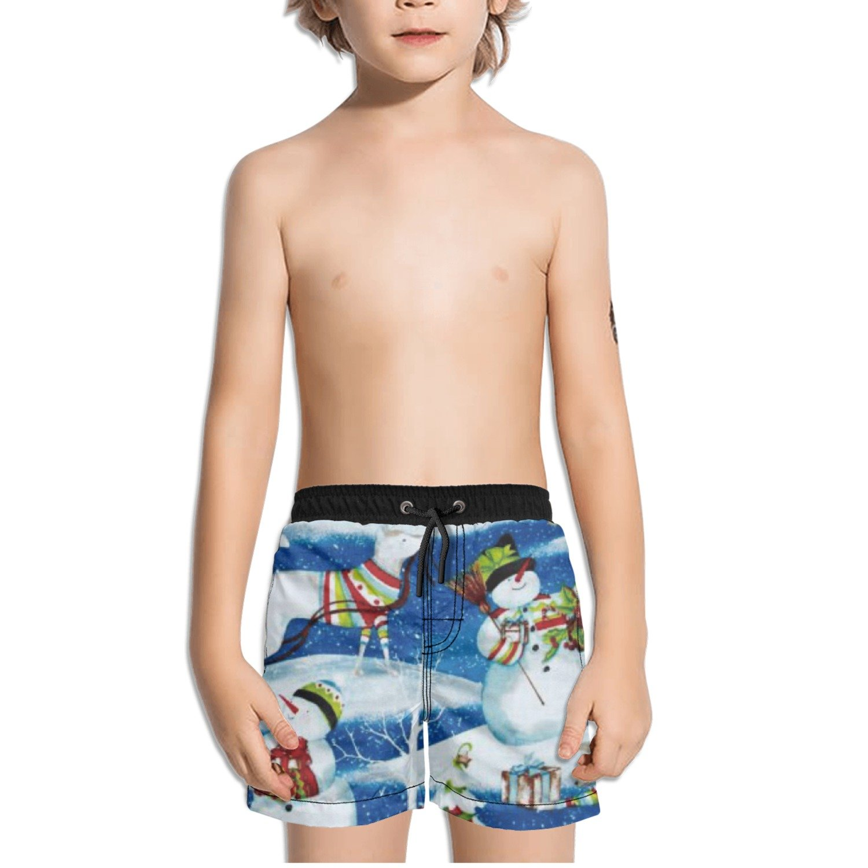 Ouxioaz Boys Swim Trunk Snowy Friends Scenic Beach Board Shorts