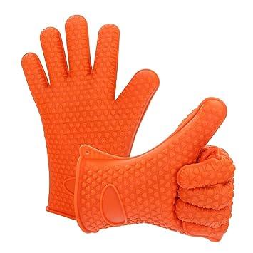 Leaton resistente al calor de silicona Barbacoa barbacoa guantes para cocinar, hornear, manipulación de