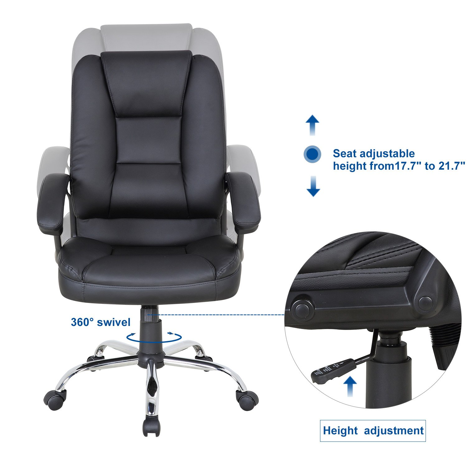 LCH PU Leather Office Chair Swivel Executive Chair with Tilt Function and Thick Seat, Ergonomic Computer Chair Headrest and Lumbar Support (Black) by LCH (Image #4)