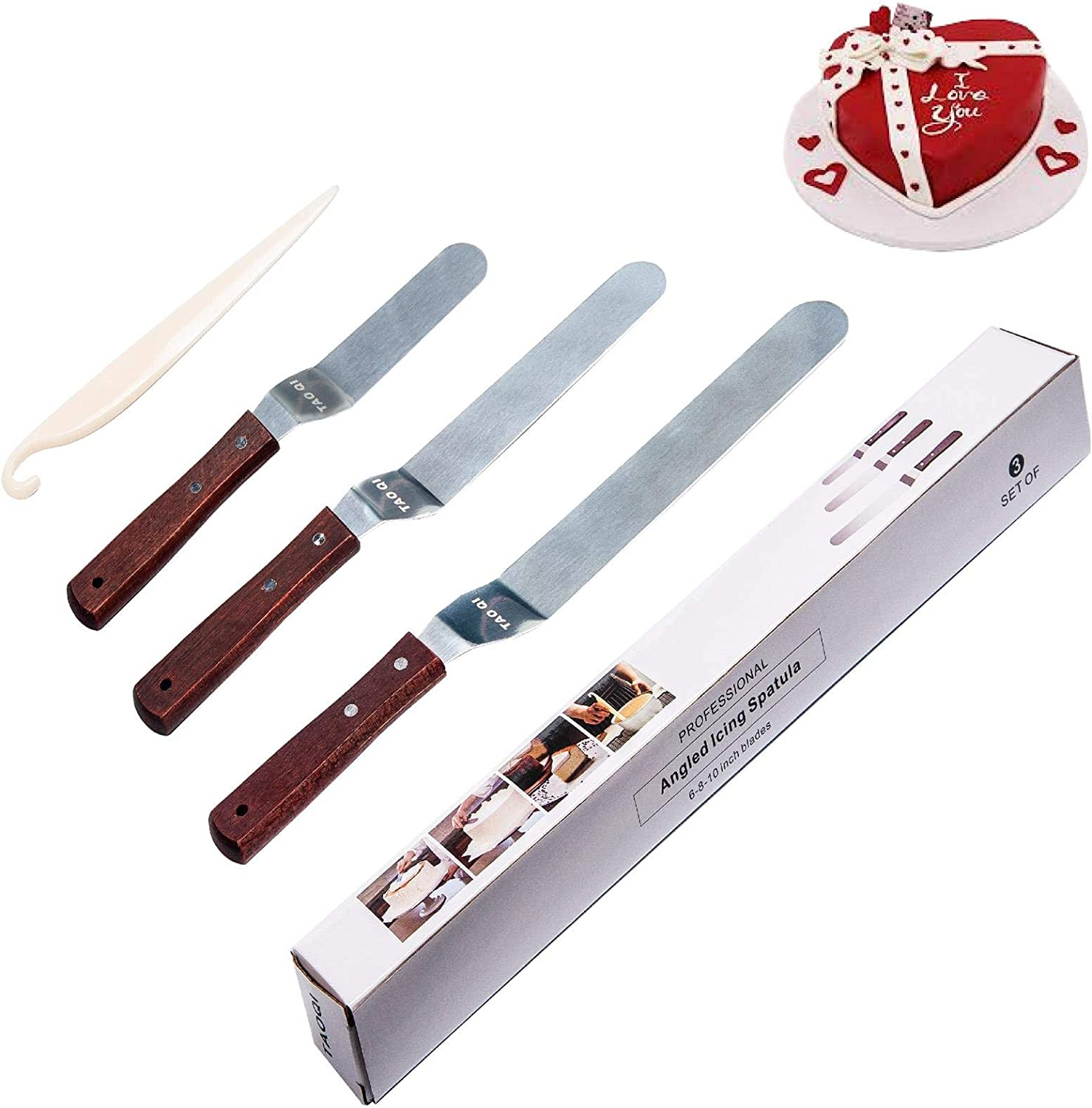 """6/"""" 8/"""" 10/""""Offset Cake Icing Spatula Party Tools Stainless Steel Baking Accessory"""