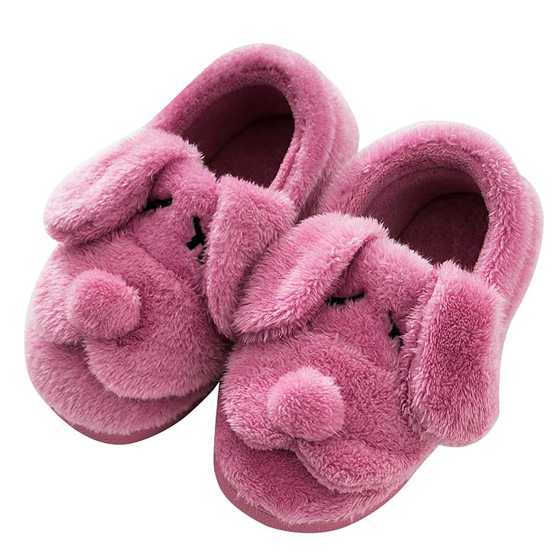 Boys Girls Winter Fur House Slipper Anti Slip Cartoon Dogs Indoors Clog Home Slippers for Kids Toddler
