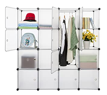 Finnhomy DIY 16 Cube Organizer Storage Cabinet Bookcase Storage Organizer  Shoes Storage Modular Storage Cabinet Wardrobe