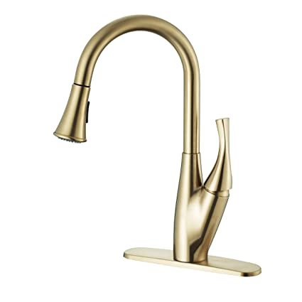 Timearrow Single Handle High Arc Champagne Bronze Pull Out Kitchen Faucet Single Lever Kitchen Sink Faucet With Pull Down Sprayer And Deck