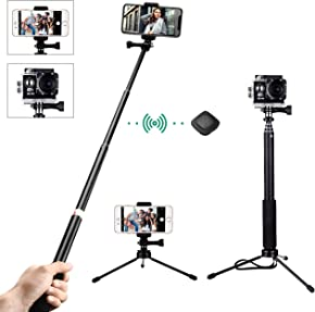 Selfie Stick, Mpow Multifunctional Phone Tripod Selfie Monopod with Bluetooth Remote Shutter for iphone, Samsung, Other Smartphones , Gopros and Small Cameras, Black