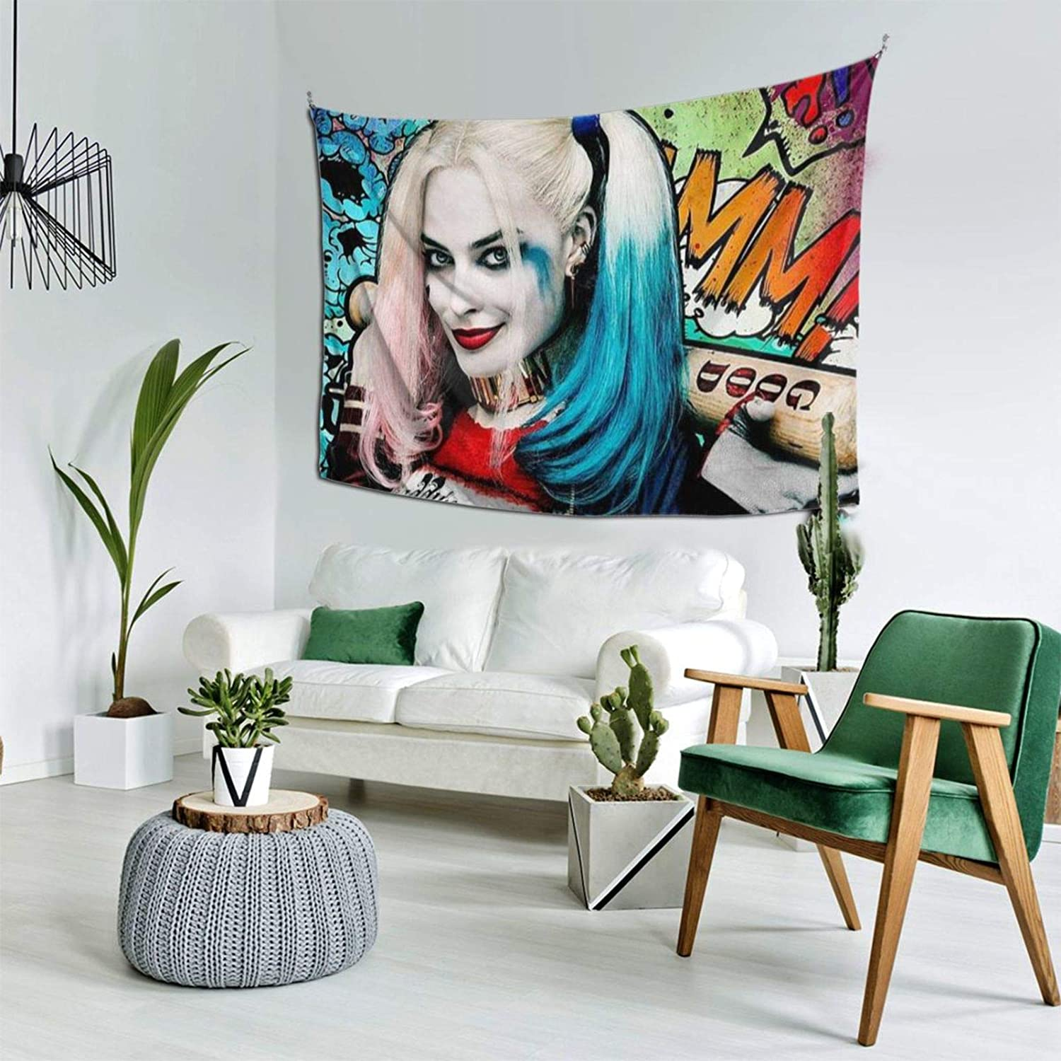 Harley Qui-nn Tapestry Wall Hanging,Anime Tapestry,Tapestry for Bedroom Aesthetic, Art Home Decoration Bedroom Decor Living Room Door Curtain 60x40inch