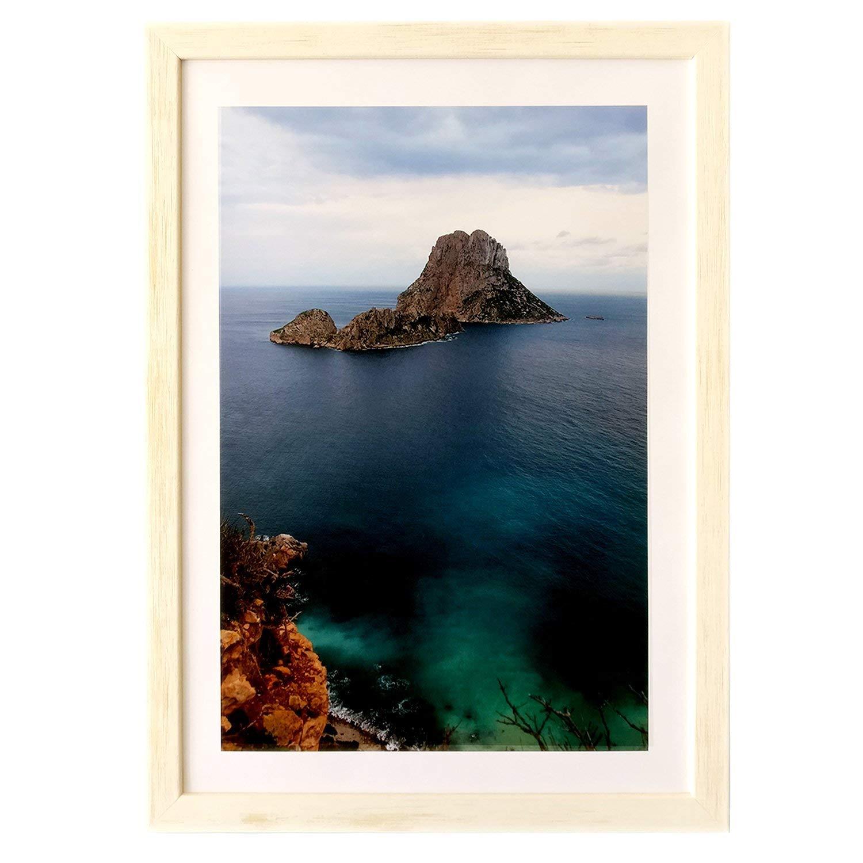 Marco de fotos hecho a mano 100% artesanal de madera y cristal tamaño DINA4 Ideal