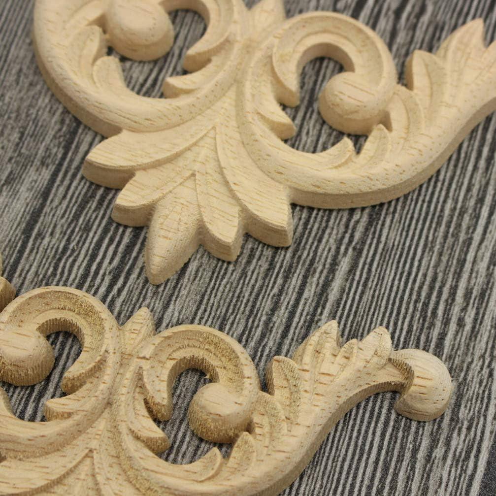 0.8 cm 7 SUPVOX 4 pcs en Bois Sculpt/é Onlay Appliques Non Peint Coin Onlay Appliques Style Europ/éen Sculpt/é Appliques pour Cadre Porte Mur Armoire Meubles D/écorations 10