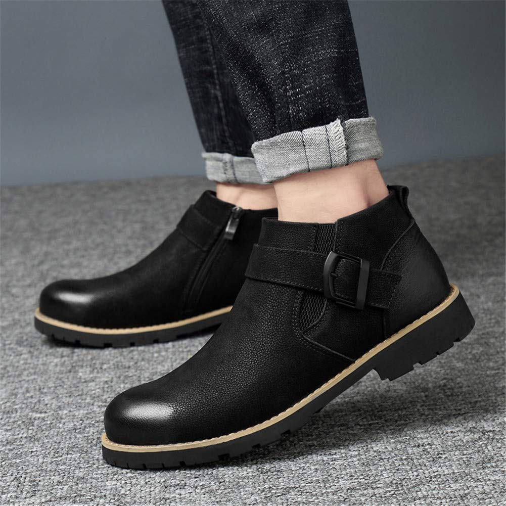 Color : Black, Size : 44 Mens Winter Shoes Mid Top Boots Working Shoes Warm Outdoor Shoes YaXuan Newest Martin Boot