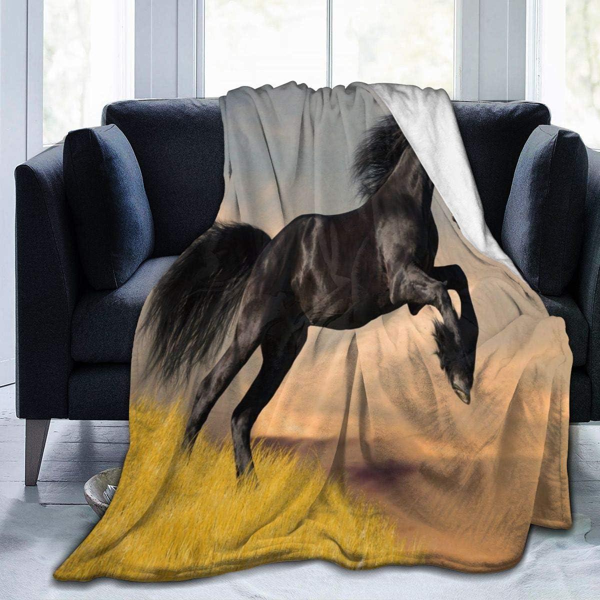 Micro Fleece Plush Soft Baby Blanket Black Mustang Horse Fluffy Warm Toddler Bed/Crib Blanket Lightweight Flannel Daycare Nap Kids Sleeping Tummy Time Throw Blanket Girls Boy Clearance 40x50inch kid/b