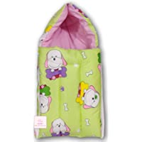 Fareto New Born Baby Sleeping Bag Cum Bed(0-6 Months)(PI: Bone,Grass Green)