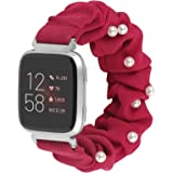 Glebo Scrunchies Band Compatible with Fitbit Versa 2/Versa/Versa Lite/Versa SE, Elastic Strap Studded with Pearls…