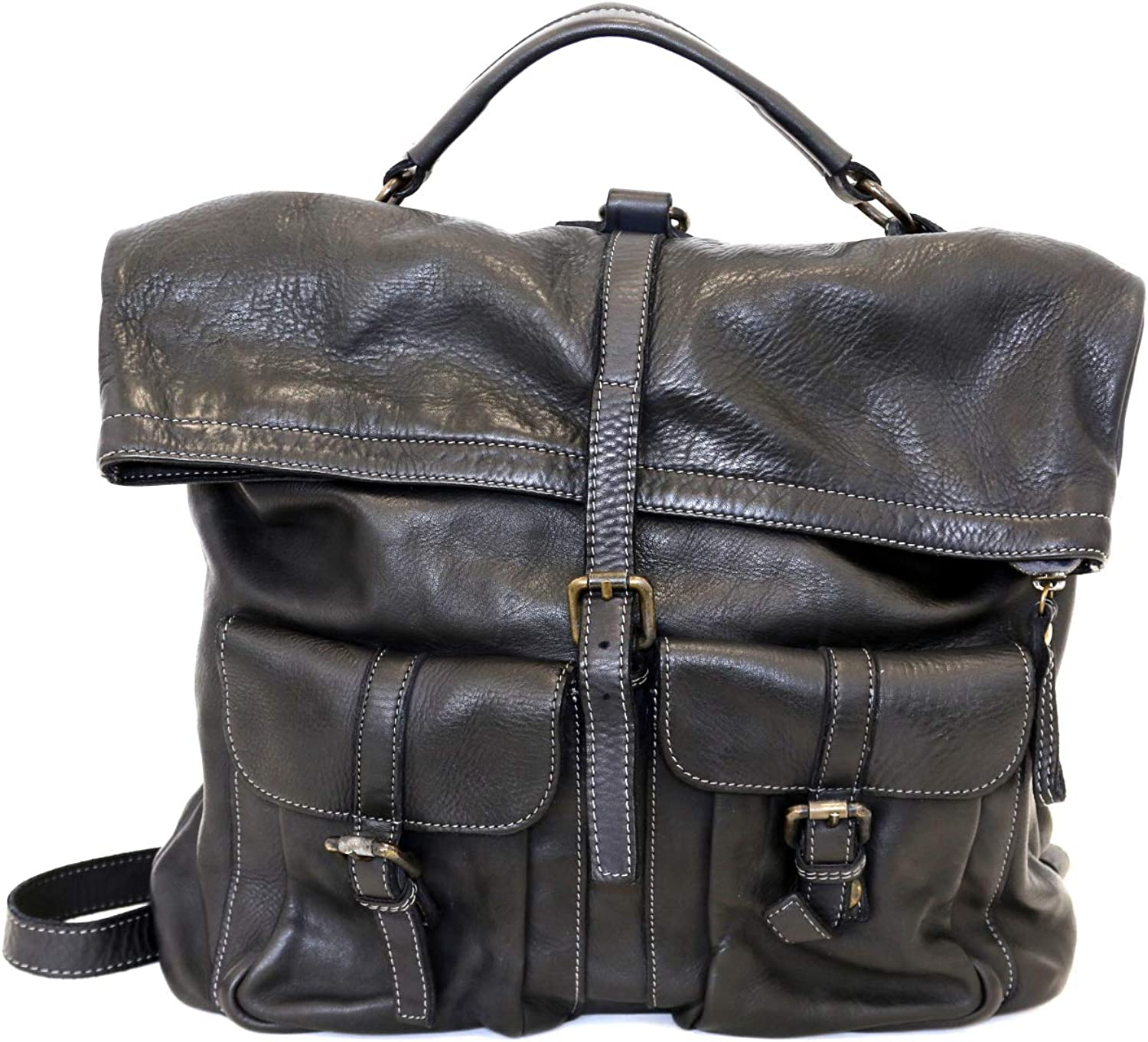 DDMilano Italian Genuine Leather Large Backpack Vintage Style 2 Front Pockets Unisex