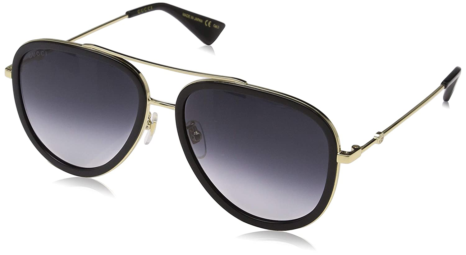 5483c0cf40c Amazon.com  Gucci Grey Gradient Aviator Ladies Sunglasses GG0062S 007 57   Clothing
