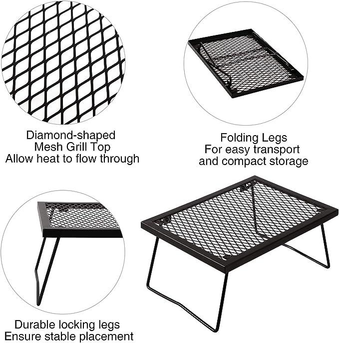 gril de camp r/ésistant au feu Grille de camping grille de grille en acier inoxydable pour le camping en plein air