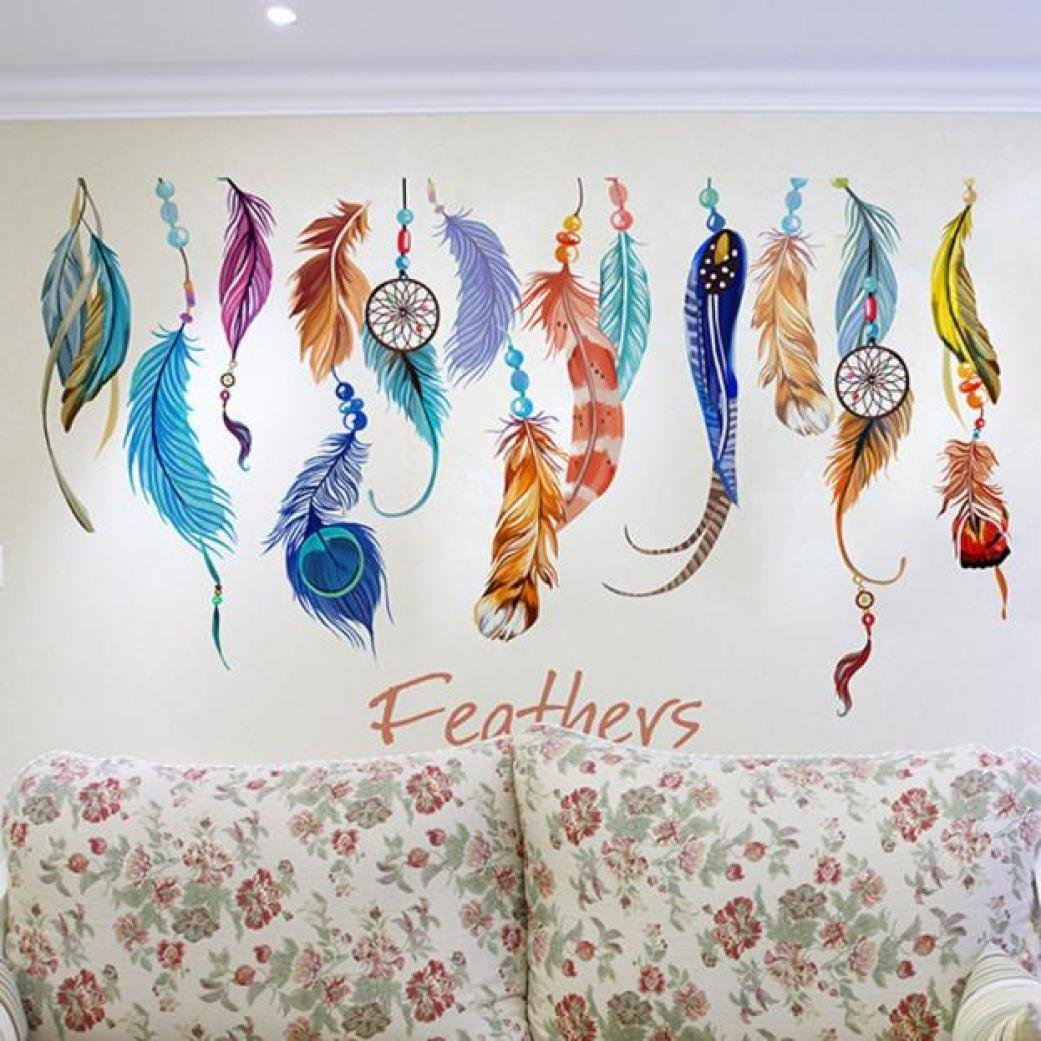 Wall Stickers, Franterd Classic Creative Dream Catcher Feather Art Decal Mural Home Room Decor
