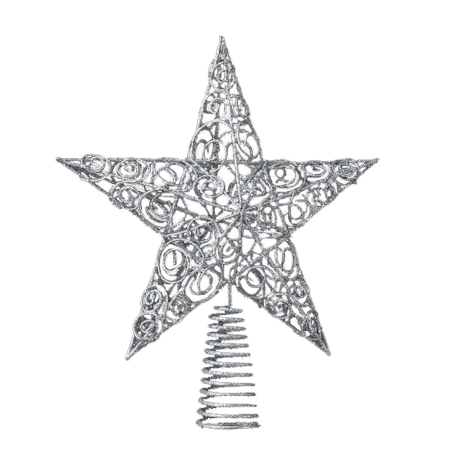 12 Sparkling Whites Silver Glitter Drenched Wire Filigree Star Christmas Tree Topper - Unlit 10''