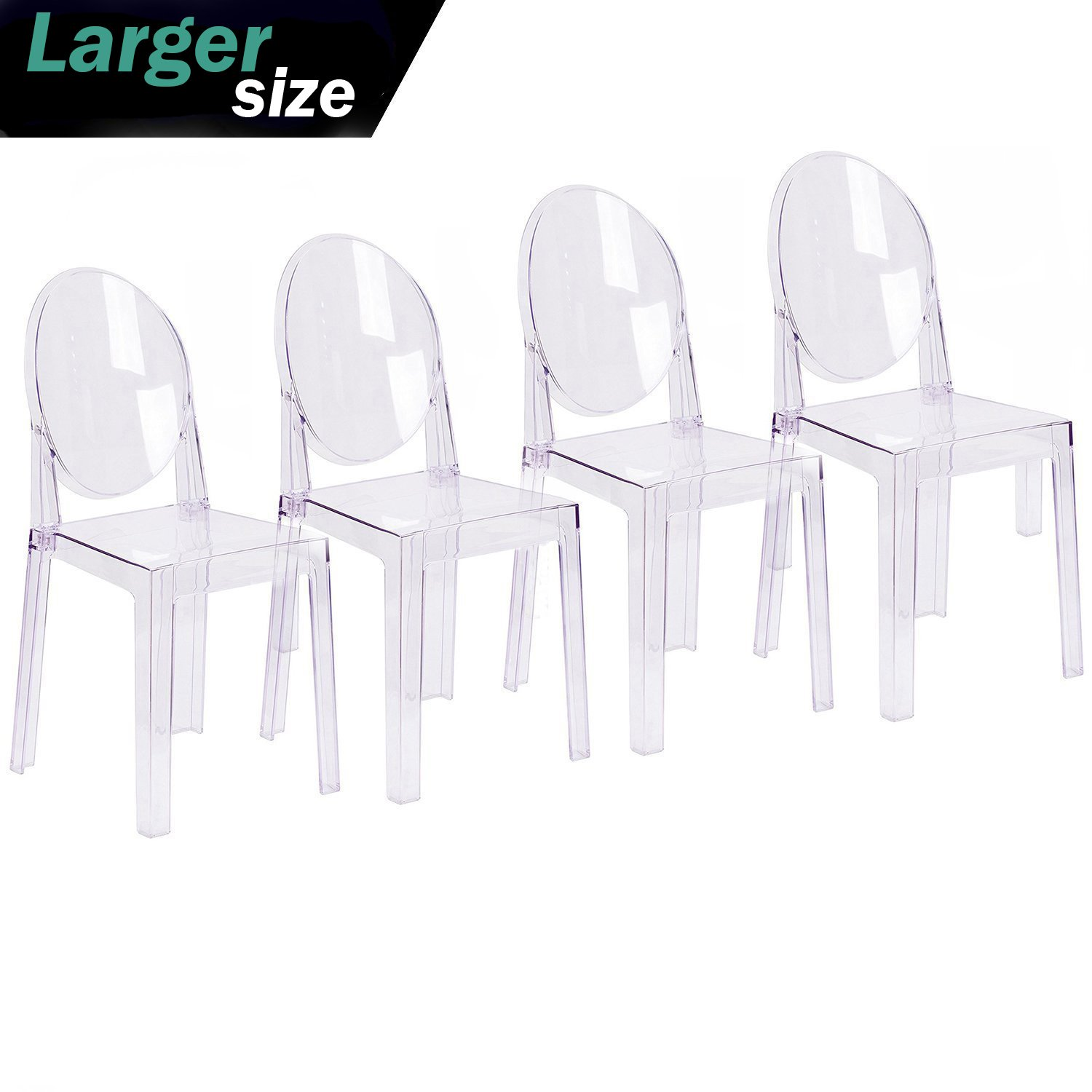2xhome - Set of Four (4) - Clear - Large Size - Modern Ghost Side Chair Dining Room Chair Ghost Chair Clear Victoria Chair - Accent Seat - Lounge No Arms Armless Arm Less Chairs