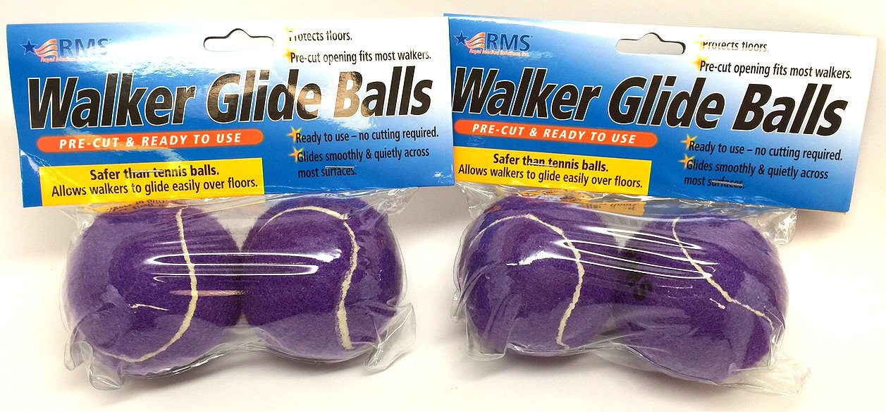 RMS Walker Glide Balls 2-Pair 6 Color Choices (Purple)