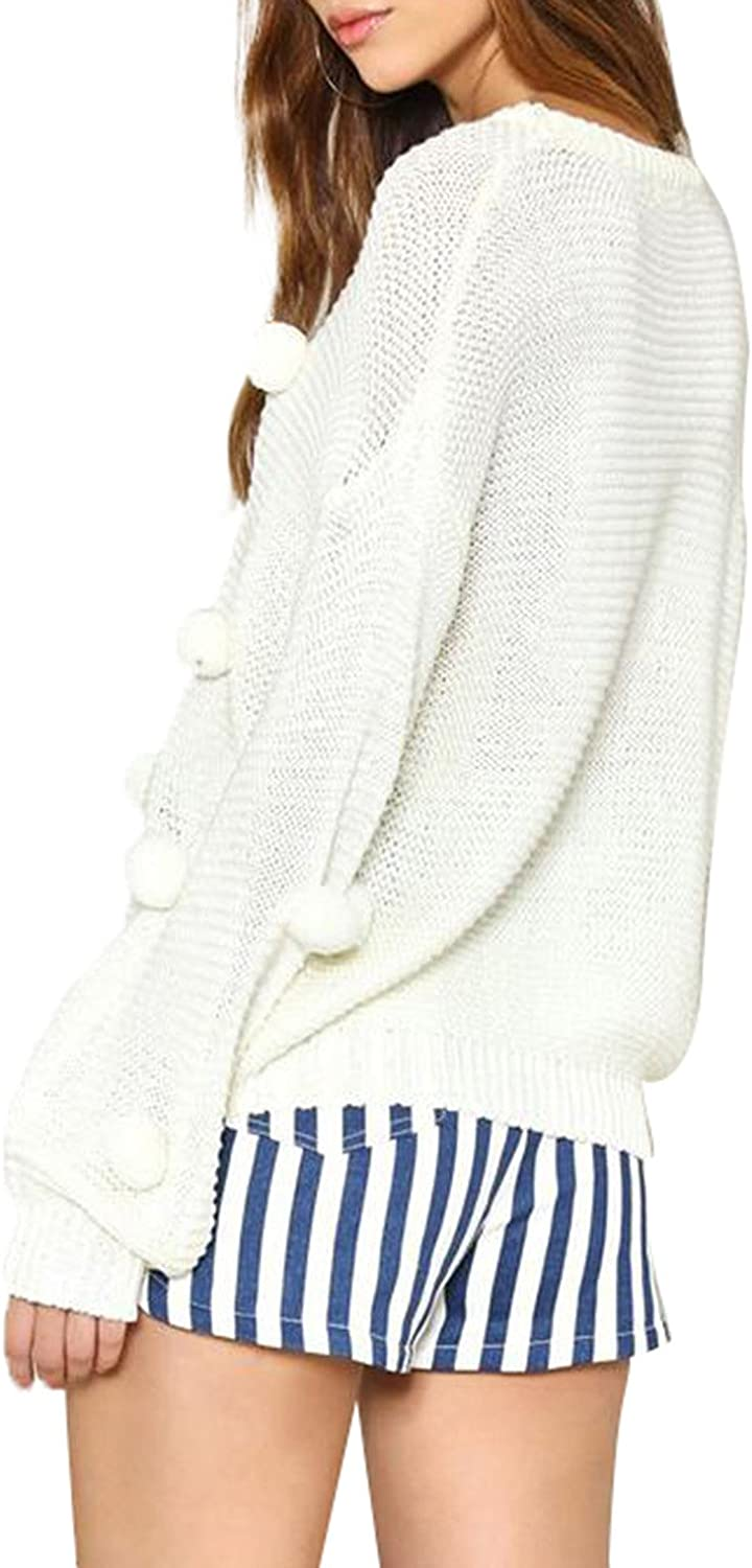 missomo Women Knitted Pom Poms Ribbed Long Sleeve Semi Opaque Sweaters White