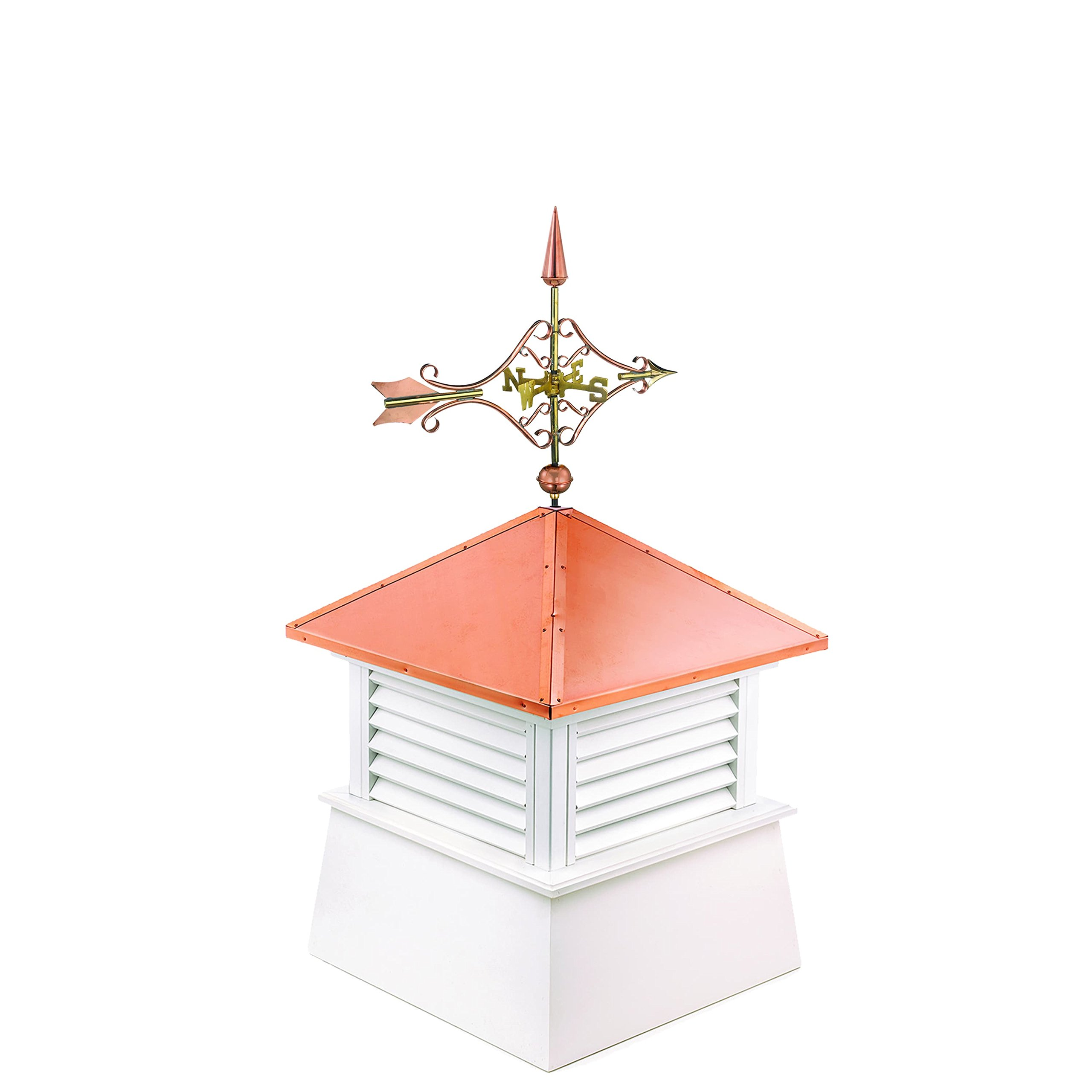 """Manchester Vinyl Cupola with Victorian Arrow Weathervane, Perfect Size for a 1 Car Garage, 26"""" square x 54"""" high, Pure Copper Roof"""