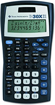 Texas Instruments TI-30XIIS Scientific Calculator, Black with Blue Accents