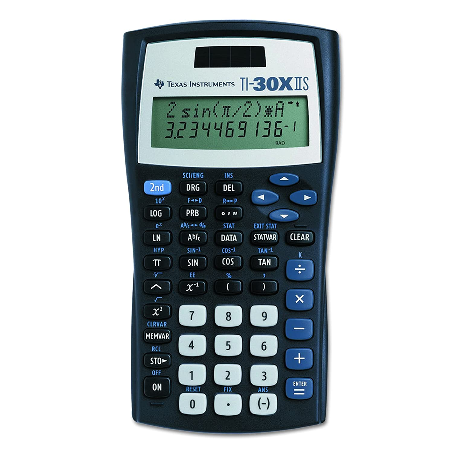 TI-30X IIS 2-Line Scientific Calculator, Black with Blue Accents