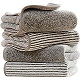 LAREGINA タオル フェイスタオル face towel マイクロファイバー 人気 柔らかな肌触り ふんわり 速乾 瞬間吸水 ホテル仕様 大判 2色4枚セット 吸水速乾 ふわふわ 肌触り抜群 抗菌防臭 家庭用、ホテル、スポーツなど適用 35cm×75cm