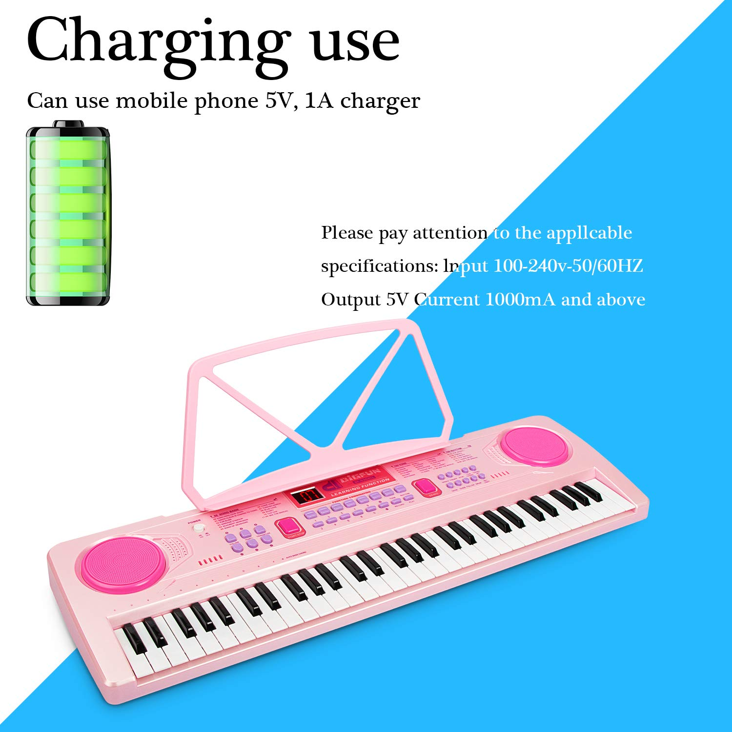 aPerfectLife 25'' Charging Piano Keyboard for Kids 61 Keys Multifunction Portable Piano Electronic Keyboard Music Instrument for Kids Early Learning Educational Toy (Pink) by aPerfectLife (Image #3)