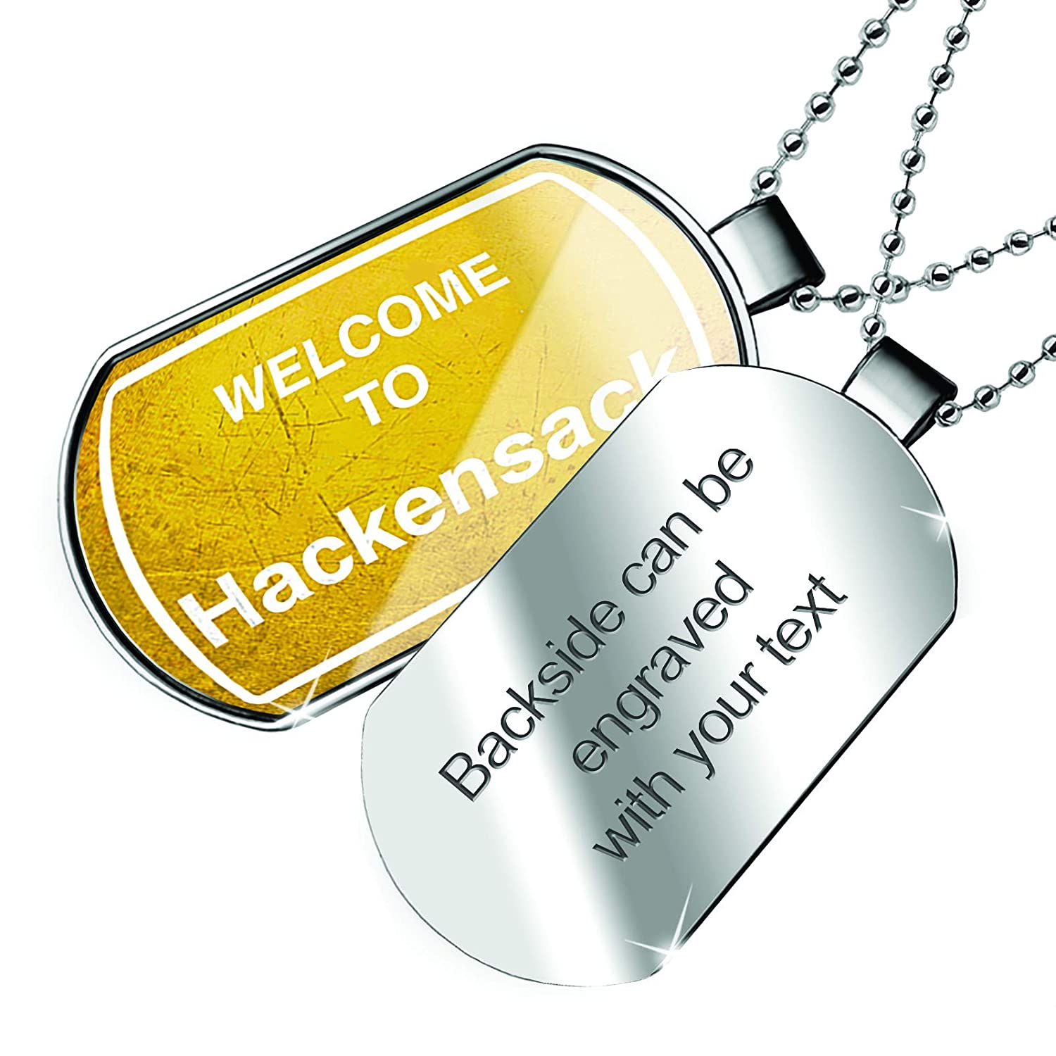 NEONBLOND Personalized Name Engraved Yellow Road Sign Welcome to Hackensack Dogtag Necklace