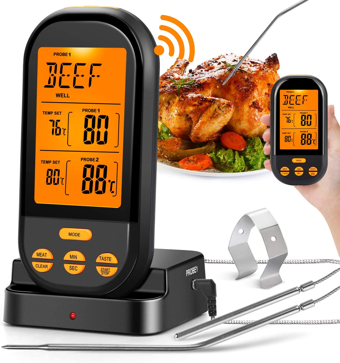 New Kitchen Digital Cooking Food Thermometer BBQ Water Measure Probe Meat Cook
