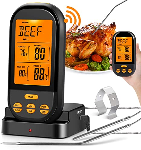 Digital Oven Thermometer Kitchen Food Cooking Meat BBQ Probe Timer Alarm Clock
