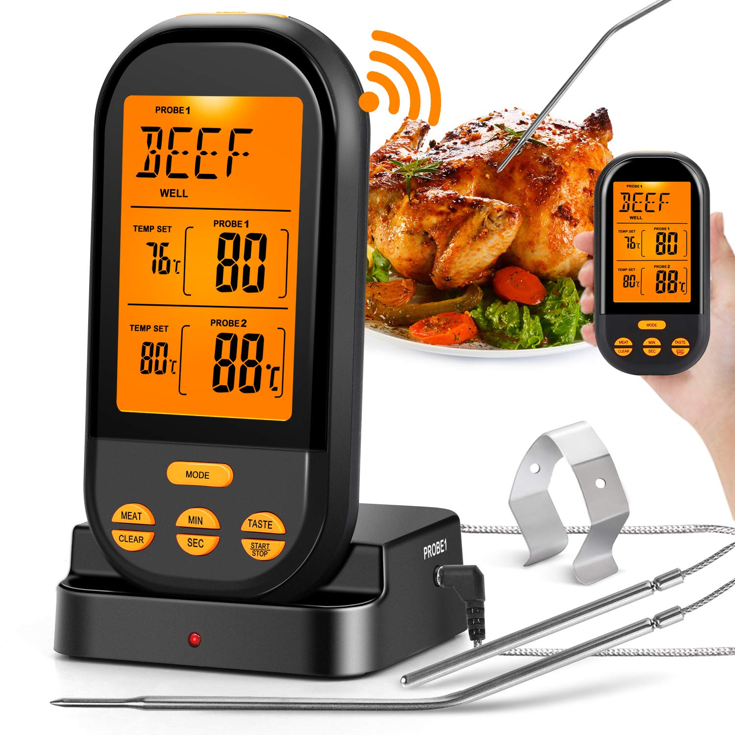 MZTDYTL Wireless Meat Thermometer for Grilling,Instant Read Digital Cooking Thermometer, with Dual Probes,Timer, Alarm,328FT Range Kitchen Food Thermometer for for Smoker Grill Oven BBQ