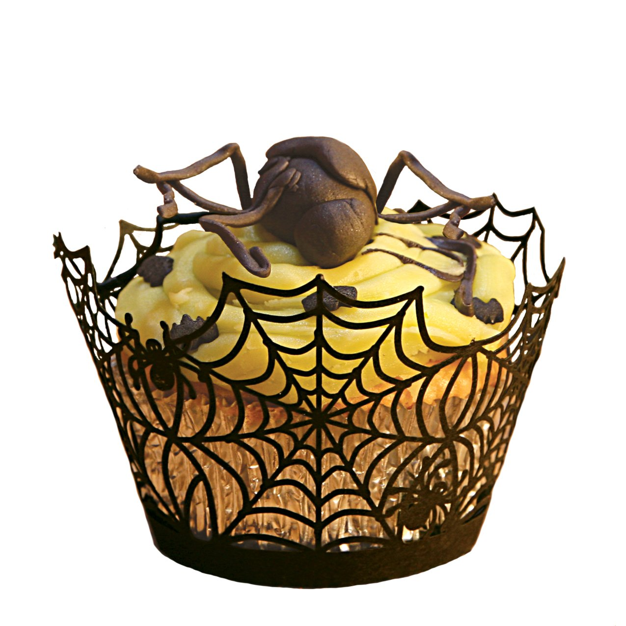 amazoncom paper orchid spider web cupcake wrapper black set of 12 cake spider web kitchen dining - Halloween Cupcake Holder